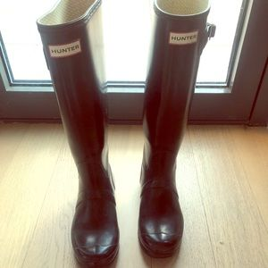 Tall Black Hunter Rain Boots 7